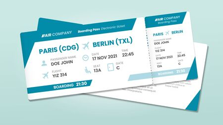 Two airline tickets. Airplane boarding ticket with passenger name, airlines flight invitation and airplanes pass. 2 traveler airport boarding tickets vector illustration