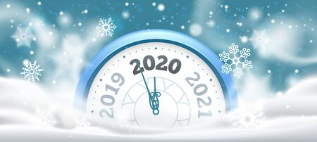 New Year winter clock. Celebration 2020 countdown in snow, holiday clocks. Christmas midnight make wishes time alarm, Xmas holiday party clock flyer vector illustration