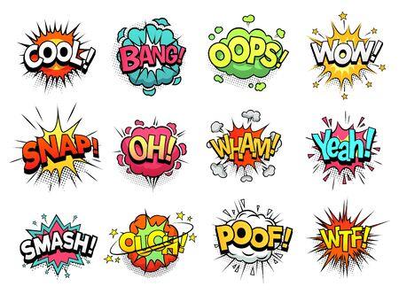 Nuvole di segno comico. Boom bang, wow e fantastici fumetti. Espressioni di nuvole scoppiate, bolle di dialogo umoristiche di fumetti o parlare di supereroi esplodono. Insieme di segni di vettore del fumetto isolato