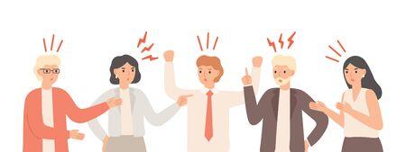 Malentendus dans l'équipe. Les employés de bureau nerveux se disputent, les problèmes de communication du travail d'équipe et l'anxiété du travail d'équipe. Problème de solution de personne malheureuse en colère pour trouver une illustration vectorielle isolée