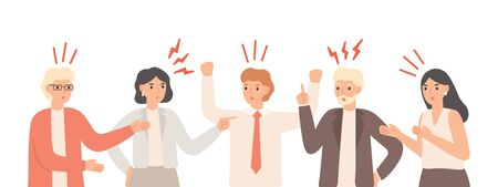 Misunderstandings in team. Nervous office workers are arguing, teamwork communication problems and teamwork anxiety. Angry unhappy person solution problem finding talk isolated vector illustration Vettoriali
