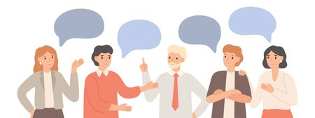 Thinking team. Teamwork communication, office workers communicate and discuss project. Group chat, group talk together. Brainstorming talking business meeting isolated vector illustration