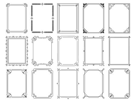 Vintage calligraphic frames. Ornate calligraph frame, retro elegant ornamental borders and filigree floral ornaments for framed certificate template. Isolated vector illustration signs set