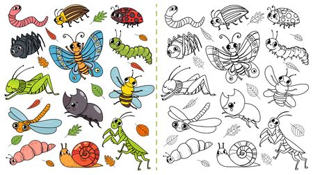 Cartoon insects color painting game. Draw cute insect with kids,..