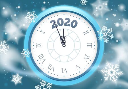 New 2020 Year snow poster. Winter holidays countdown clock with snowflakes, vintage clocks arrows and holiday celebration hours. Christmas midnight clock greeting card vector illustration Ilustração