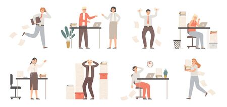 Stressed business people. Busy office workers, angry boss in panic and work chaos. Failure deadline stress, stressed job and tired confusing businessman worker. Isolated vector illustration icons set
