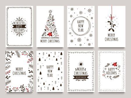 Cartes de vacances d'hiver dessinées à la main. Carte de Noël joyeux avec des ornements floraux, un arbre du nouvel an et un cadre de flocons de neige. Les voeux ou les invitations de Noël 2020 inspirent les cartes de citation. Ensemble d'icônes vectorielles isolées