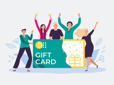 Bono de tarjeta regalo. El certificado de regalo, las tarjetas de descuento para los clientes y las personas felices tienen un cupón de regalo. Cupón de compras ganador de premio ilustración vectorial plana Ilustración de vector