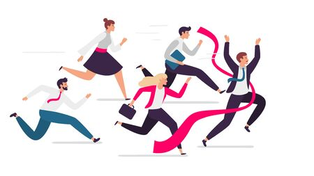 Office team crosses finish line. Team leader tears red finish ribbon, teamwork competition and successful professionals run together. Business team winning isolated flat vector illustration