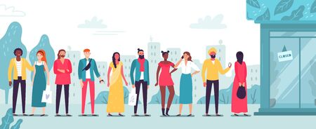 People in line at store. Waiting long lines, buyers standing outside shop and boutique entrance. Character crowded store area, customer standing and wait flat vector illustration
