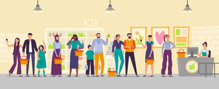 People waiting in store line. Long shop queue, customers in line for cash register and waiting for buy. Shopping characters, order awaiting buyer flat vector illustration