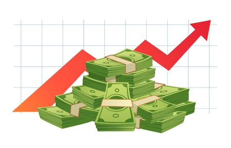 Growing cash graph. Pile of cash, money value red rising graph arrow and financial growth diagram. Finance wealth, success capital investment or budget increased isolated vector illustration