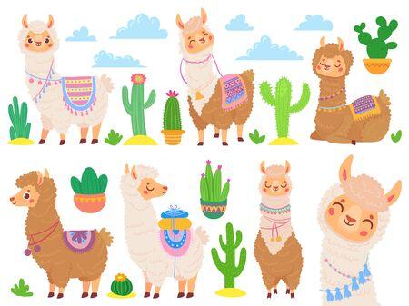 Cartoon mexican alpaca. Funny llamas, cartoon cute animal and llama with desert cactus. Sweet alpaca stickers, mexico fluffy drama llamas characters. Isolated vector icons set