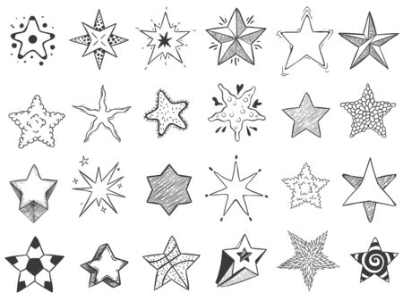 Sketch stars. Doodle star shape, cute hand drawn starburst and rating stars. Shiny ink stars sketch, drawing starry doodle reward sticker. Isolated vector icons set