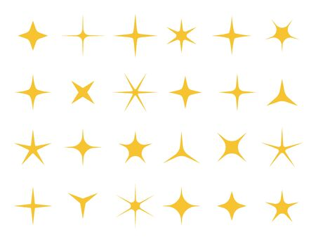 Shiny stars. Sparkle light, bright star and sparkles shape. Shining glitter sparkles, xmas golden stars, yellow glowing signs. Isolated vector symbols set