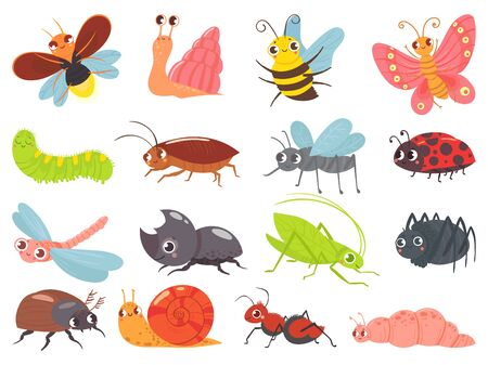 Cartoon bugs. Baby insect, funny happy bug and cute ladybug. Insects mascots, different bugs characters warm, comic snail and butterfly. Isolated vector icons set Ilustração