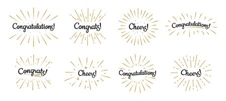 Congratulations lettering. Congrats label, cheers celebration and congratulation text badges with golden burst. Congrats quotation card. Isolated vector symbols set