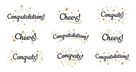 Congrats lettering. Congratulation text labels, cheers sign decorated with golden burst and stars and congratulations.