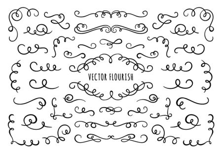 Flourish frame, corners and dividers. Decorative flourishes corner, calligraphic divider and ornate scroll swirls. Vignette dividers, ornamental flourish ink borders. Isolated vector symbols set