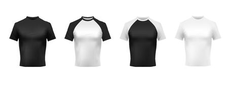 Black and white t-shirt mockup. Black polo, men shirt front view and shirts realistic template 3D vector set. Casual male clothing with short sleeves. Fashionable apparel, stylish garments