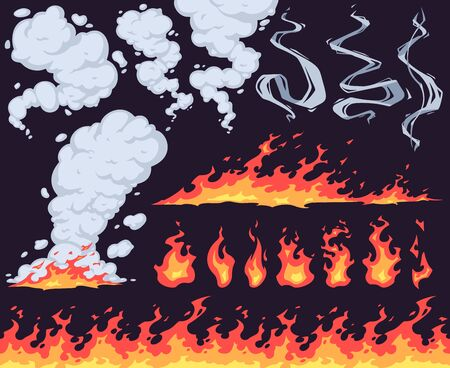 Cartoon fire and smoke. Bright fire flame, red fiery flames and smoke clouds effect vector set. Dangerous wildfire, natural phenomenon isolated on dark background. Bright blaze with smoky fumes Illusztráció