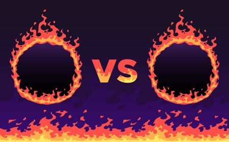 Fire versus frame. Sport challenges battle, flaming VS banner and fire flame frames vector illustration. Competitive confrontation, championship fight title screen design with copyspace