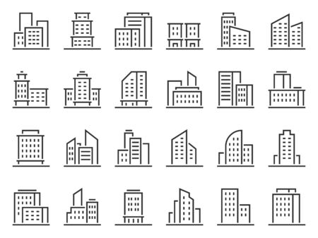 Line building icons. Hotel companies business icon, city buildings and town symbol vector set. Urban architecture, multistorey houses and skyscrapers linear pictograms. Logotype design element Illusztráció