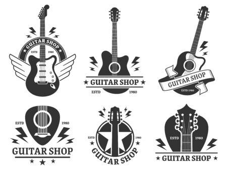Guitar shop badges. Custom guitars shop emblem, guitar headstock and music instruments store badge vector illustration set. Musical company monochrome emblem designs pack. Musicians equipment sale Illusztráció