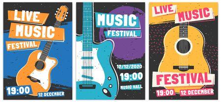 Music festival posters. Live acoustic guitar music concert poster, rock fest flyer and creative brochure template vector set. Rock n roll concert advertising banner concept. Entertainment event promo Illusztráció