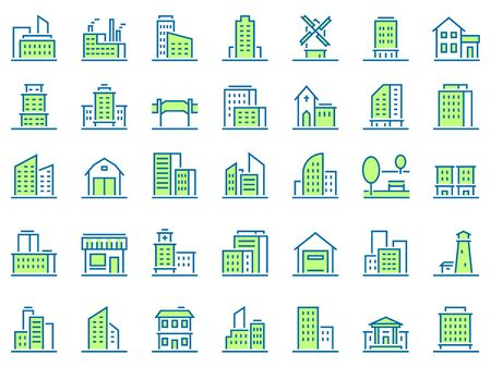 Color line building icons. Green town icon, city buildings and real estate symbols vector set. Urban architecture. Residential and municipal buildings linear pictograms pack. Logotype design elements