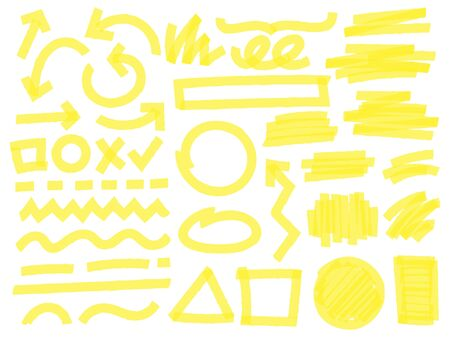 Highlight marker strokes. Yellow checkmark marks, text highlighter lines and highlights marking vector set. Bright arrows, geometric shapes, lines and random scratches isolated on white background Illusztráció