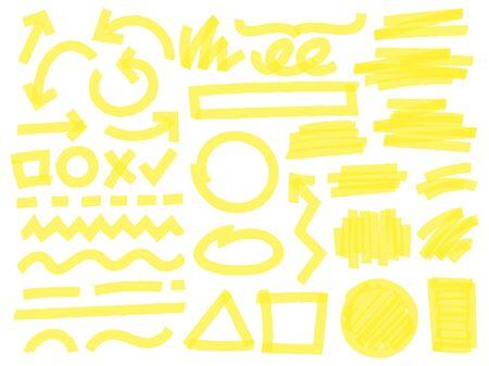 Mettez en surbrillance les traits du marqueur. Coches jaunes, lignes de surligneur de texte et ensemble de vecteurs de marquage de surbrillance. Flèches lumineuses, formes géométriques, lignes et rayures aléatoires isolées sur fond blanc