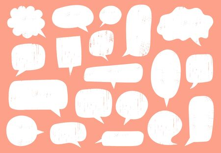 Textured speech bubble. Comic communication frame with stamp texture, hipster discussion balloon and hand drawn doodle chat bubble frames vector set. Blank text clouds isolated on pink background