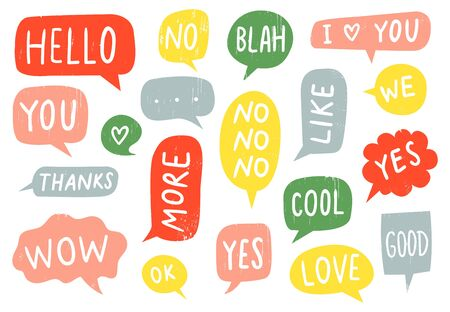 Textured speech bubble signs. Thanks sign, yes and no doodle. Hand drawn frames with ok, good and i love you text vector set. Colorful text clouds with different words. Messaging design elements