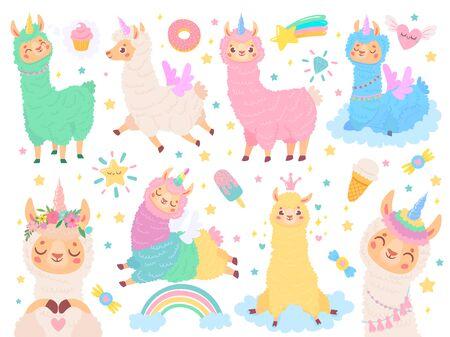 Cartoon llama unicorn. Happy magic color llamas unicorns, fluffy pink alpaca fur vector illustration set. Cute exotic animal stickers collection. Funny peruvian fauna with cartoon symbols