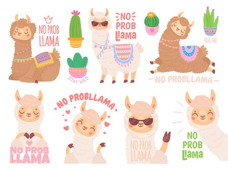 No prob llama. Cool llamas have no problems, wildlife animals no problem quote illustration vector set. Funny lama stickers with positive quotes. Adorable mammals optimistic lifestyle sayings pack
