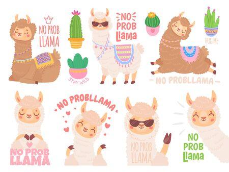No prob llama. Cool llamas have no problems, wildlife animals no problem quote illustration vector set. Funny lama stickers with positive quotes. Adorable mammals optimistic lifestyle sayings pack Illusztráció