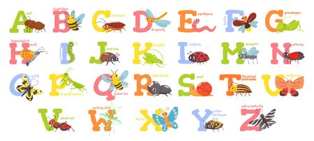 Cartoon insects alphabet. Funny bug letters, comic insect abc for kids and cute bugs vector illustration set. Educational english alphabet with colorful cartoon characters. Elementary school education
