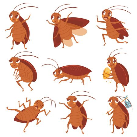 Cartoon cockroach mascot. Angry cockroaches, insect pests and bugs control characters vector illustration set. Funny brown beetles collection. Different adorable parasites, wildlife stickers pack Illusztráció