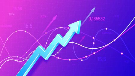 Growing financial schedule 3D arrow. Profit growth, rising chart and finance business statistic vector illustration. Successful business development, revenue increase. Positive stock market trend Illusztráció