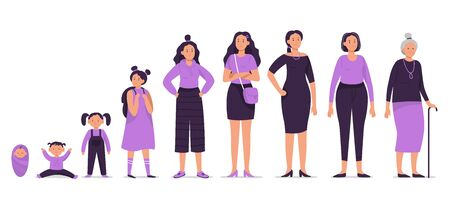 Different ages female character. Baby, child, young girl, teenager, adult woman and old senior characters vector illustration set. Human development stages. Lady life cycle from infancy to senility