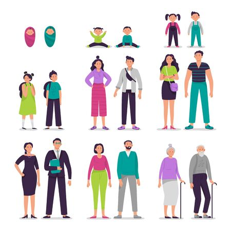 Different ages people couples. Man and woman characters couple, seniors persons, boy and girl kids vector illustration set. Sister and brother growing up together. Siblings aging process, life cycle