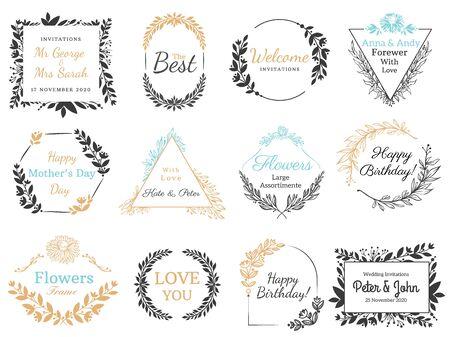 Floral ornaments labels. Hand drawn invitation label, decorative flower ornaments frames and vintage calligraphic banner vector set. Vintage wedding invite cards and holidays postcards design elements Illusztráció