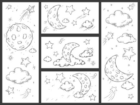 Sketch night sky with moon. Hand drawn moon, night stars and doodle dream sleep clouds vector illustration set. Crescent in starry sky and shooting stars coloring book drawings collection