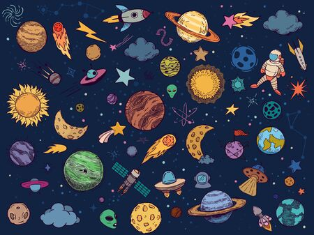 Color space doodle. Astrology planets, colorful space and hand drawn rocket vector illustration set. Cartoon style cosmic stickers pack. Celestial bodies, astronaut, spacecrafts, stars and UFO Illusztráció