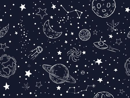 Seamless night sky stars pattern. Sketch moon, space planets and hand drawn star vector illustration. Astronomy symbols decorative texture. Cosmic wallpaper, wrapping paper, textile outline design