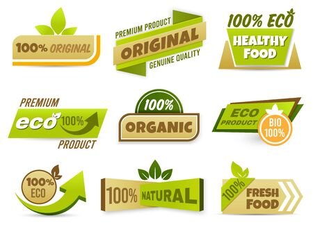 Eco label banner. Healthy food labels, eco bio product and natural organic emblem badges vector set. 100 percent genuine production tags collection. Freshness and quality assurance stickers pack