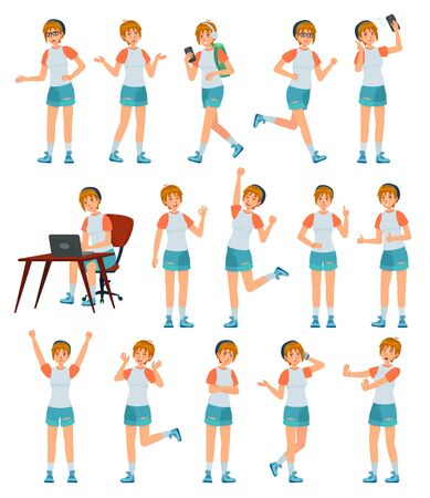 Cartoon female teenager character. Young teenage girl in different poses and actions vector illustration set. Cheerful modern schoolgirl in casual clothing pack. Trendy teen in different activities