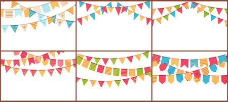 Party bunting. Birthday flags banner, color triangle flag buntings and festival paper garland vector set. Special occasion, holiday event celebration accessories illustrations with text space