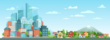 Suburban and urban cityscape. Modern city architecture, suburban or village houses and summer landscape vector illustration. Metropolis skyline and suburbs. Financial district and countryside panorama Vetores